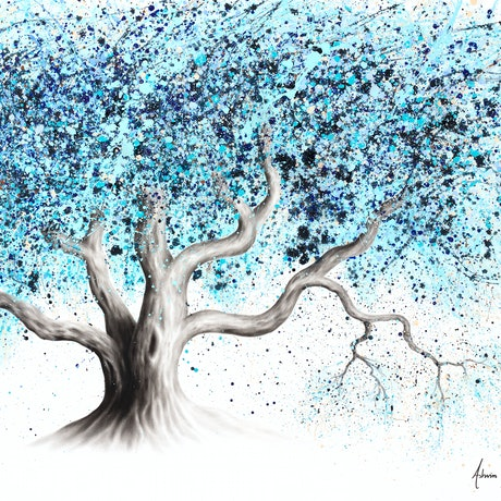 (CreativeWork) Blue Sea Tree by Ashvin Harrison. Acrylic Paint. Shop online at Bluethumb.