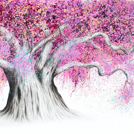 (CreativeWork) Pink Party Tree by Ashvin Harrison. Acrylic Paint. Shop online at Bluethumb.