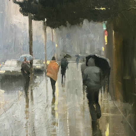(CreativeWork) City Showers - rainy cityscape by Mike Barr. Oil Paint. Shop online at Bluethumb.