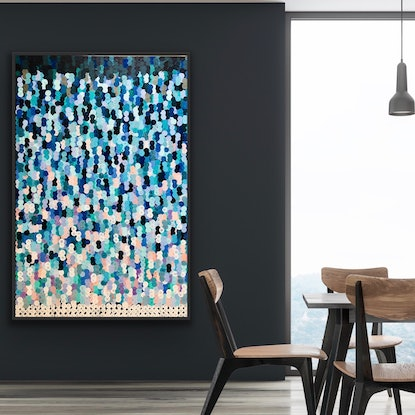 (CreativeWork) Little rettangolo multicolore 102x153 tall framed large textured abstract  by Sophie Lawrence. Acrylic Paint. Shop online at Bluethumb.