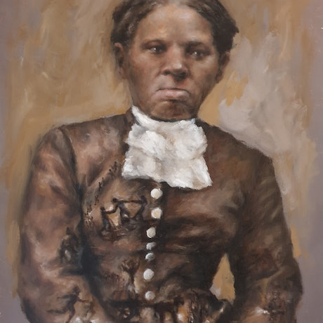 "(CreativeWork) ""Purpose"" a portrait of Harriet Tubman (Framed) by Katrina Okoronkwo. Oil Paint. Shop online at Bluethumb."
