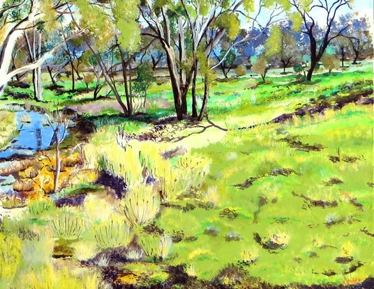 (CreativeWork) Tranquil Riverina by Monika Scheffler. Acrylic Paint. Shop online at Bluethumb.
