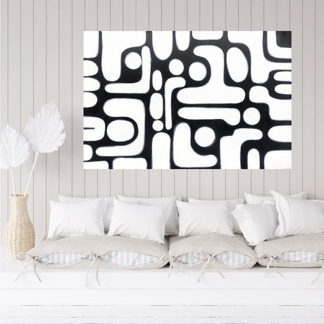 (CreativeWork) Between The Lines by Maggi McDonald. Acrylic Paint. Shop online at Bluethumb.