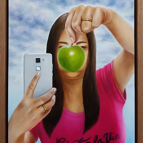 (CreativeWork) Hiding behind an apple by Natasha Junmanee. Oil Paint. Shop online at Bluethumb.