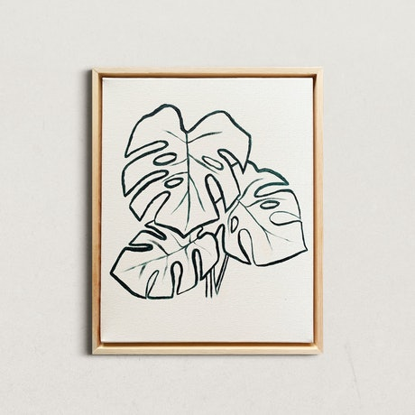 (CreativeWork) Minimalist Monstera by @theplant _kingdom. Acrylic Paint. Shop online at Bluethumb.