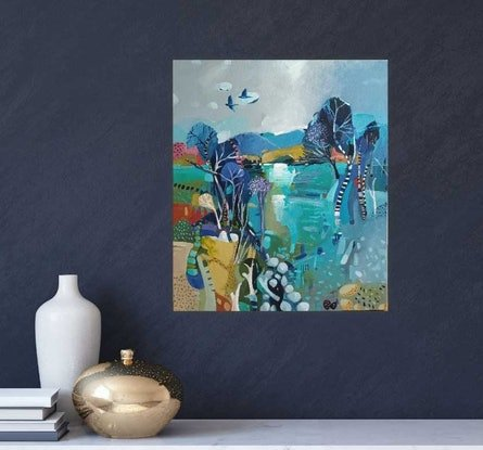 (CreativeWork) Abstract landscape  - Blue Haze by Susan Trudinger. Acrylic Paint. Shop online at Bluethumb.