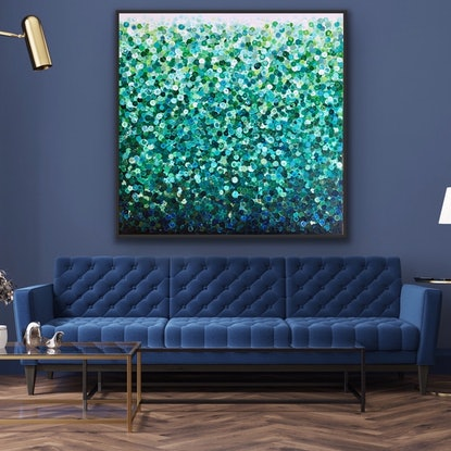 (CreativeWork) Little after eight 122x122 framed large abstract  by Sophie Lawrence. Acrylic Paint. Shop online at Bluethumb.