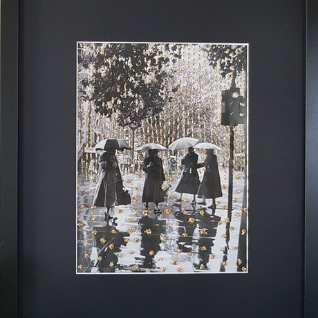 (CreativeWork) ' Vintage Black and White'' by Karen Coull. Mixed Media. Shop online at Bluethumb.