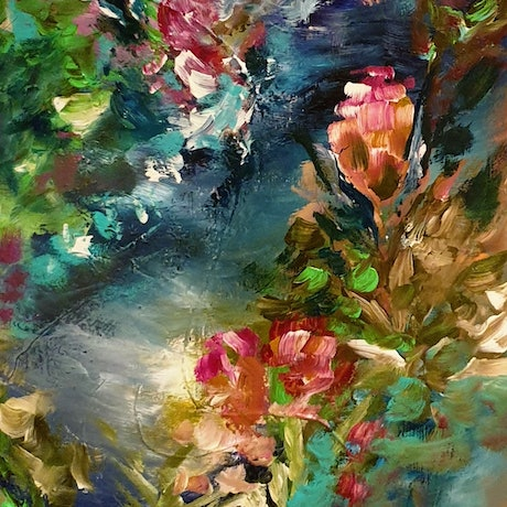 (CreativeWork) Garden Hill by Lucile Hibbsio. Oil Paint. Shop online at Bluethumb.