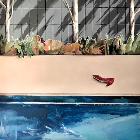 (CreativeWork) Pool with red shoe by Geoff Coleman. Acrylic Paint. Shop online at Bluethumb.