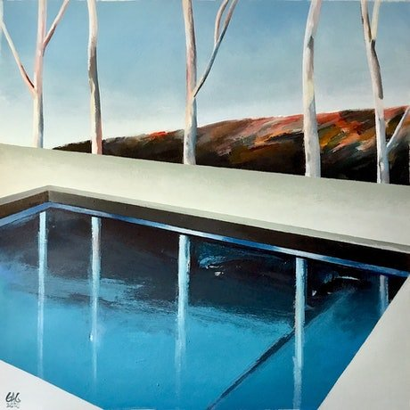 (CreativeWork) Pool with trees by Geoff Coleman. Acrylic Paint. Shop online at Bluethumb.