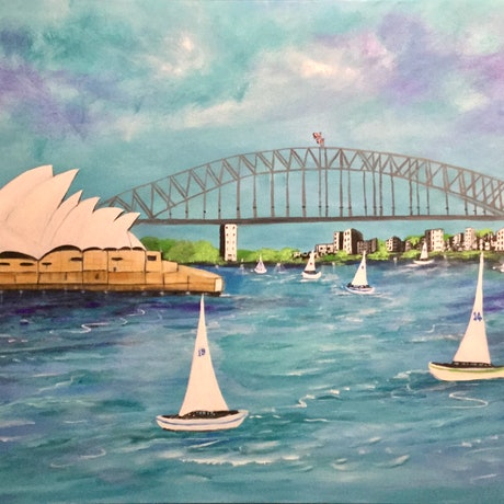 (CreativeWork) Symphony Of Sails  by Carol Lindsay. Acrylic Paint. Shop online at Bluethumb.