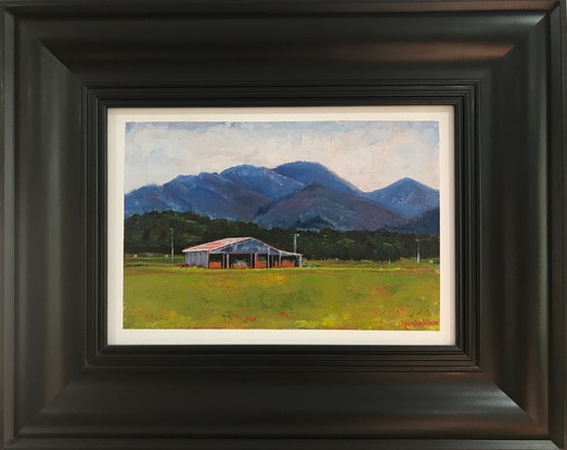 (CreativeWork) Barn, Mount Alford by LOUISE GROVE WIECHERS. Oil Paint. Shop online at Bluethumb.
