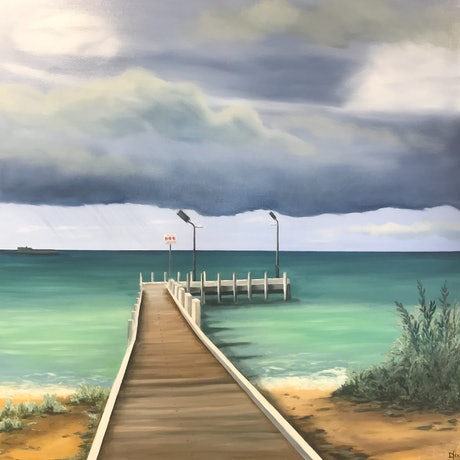 (CreativeWork) Pier at Safety Beach by Dianne Fix. Oil Paint. Shop online at Bluethumb.