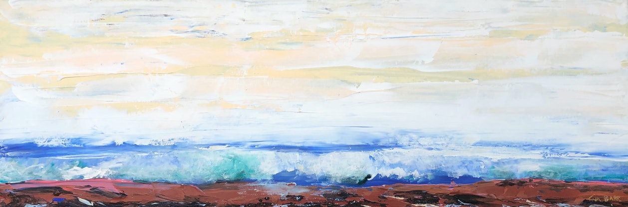 (CreativeWork) Tide's In - seascape by Tina Barr. Acrylic Paint. Shop online at Bluethumb.