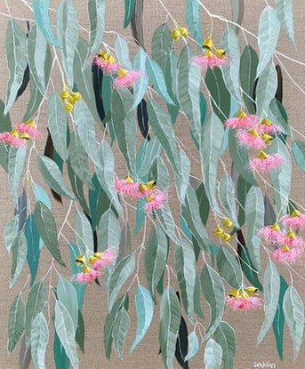 (CreativeWork) Pretty in Pink on Linen by Eve Sellars. Acrylic Paint. Shop online at Bluethumb.