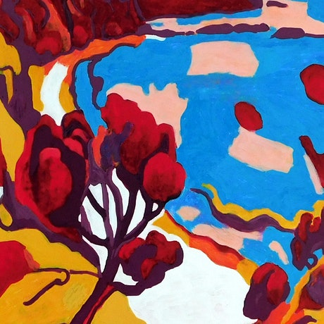(CreativeWork) Expressionist Bay Wall Art Home Decor Nature Art Landscape Art by Nicole Whittaker. Acrylic Paint. Shop online at Bluethumb.