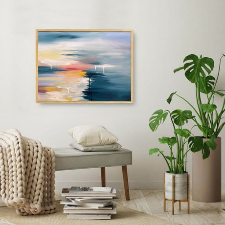 (CreativeWork) Sail Away (Framed) by Melanie Crawford. Acrylic Paint. Shop online at Bluethumb.