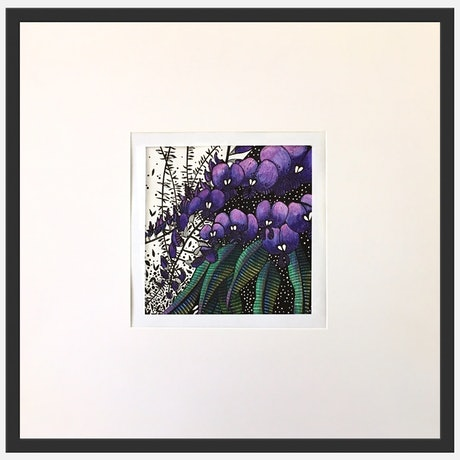 (CreativeWork) Purple Hovea 2 of 3 by Tania Daymond. Drawings. Shop online at Bluethumb.