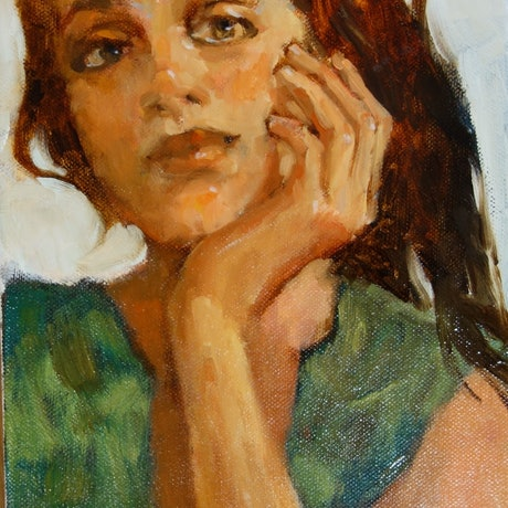 (CreativeWork) Here's Looking at You by Lorraine Lewitzka. Oil Paint. Shop online at Bluethumb.