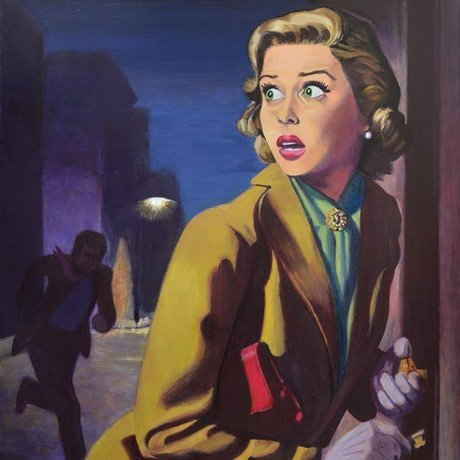 (CreativeWork) Night Prowler - Original Detective Noir Painting on stretched Canvas ready to hang by Jane Ianniello by Jane Ianniello. Acrylic Paint. Shop online at Bluethumb.