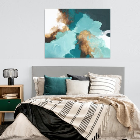 (CreativeWork) Pia - large teal, brown, grey, gold abstract  by Stephanie Laine. Acrylic Paint. Shop online at Bluethumb.