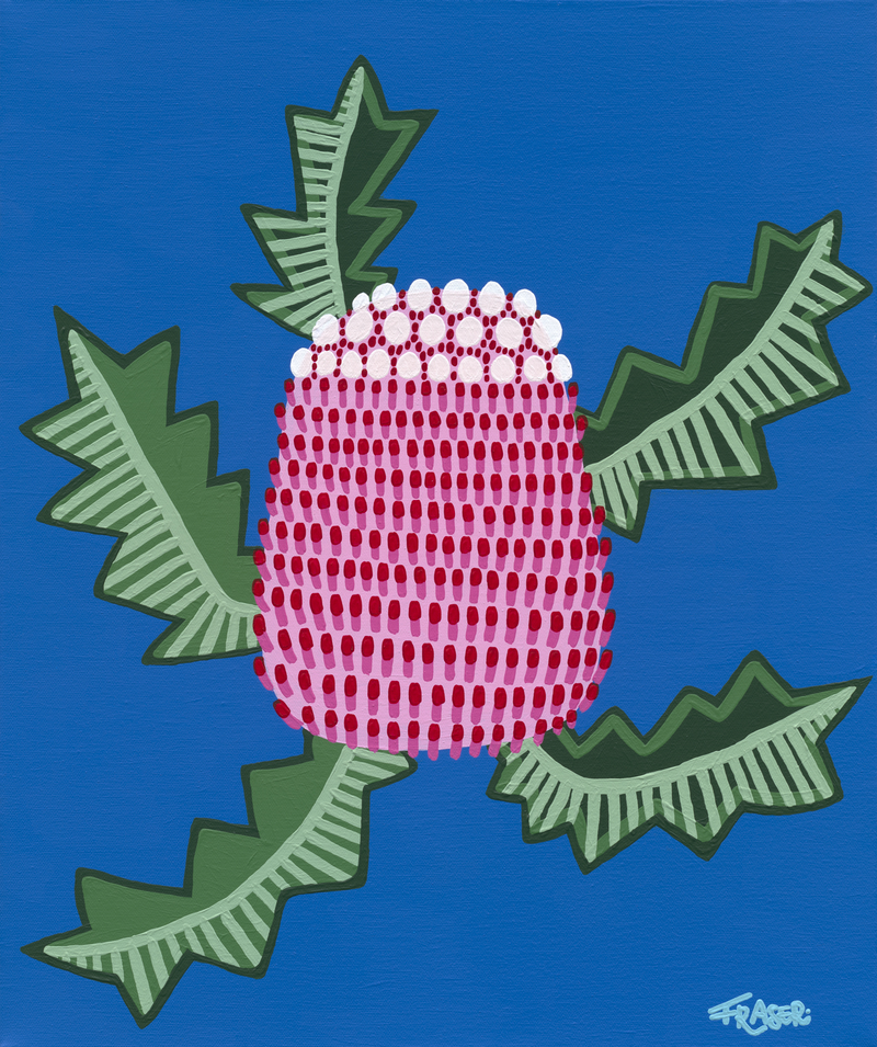 (CreativeWork) Pink Banksia by Georgina Fraser. Acrylic Paint. Shop online at Bluethumb.