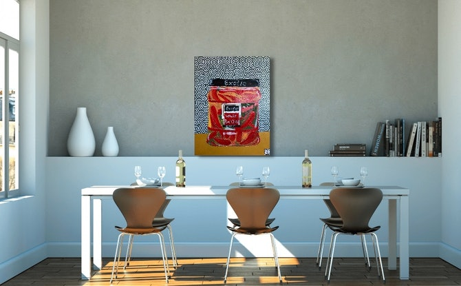 (CreativeWork) In The Kitchen Series-Exotic Chillis by Sally Dunbar. Mixed Media. Shop online at Bluethumb.