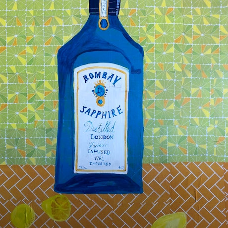 (CreativeWork) In The kitchen series-It's a gin kind of evening by Sally Dunbar. Mixed Media. Shop online at Bluethumb.