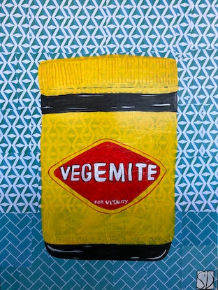 "(CreativeWork) In The Kitchen Series ""Happy Little Vegemite"" by Sally Dunbar. Mixed Media. Shop online at Bluethumb."