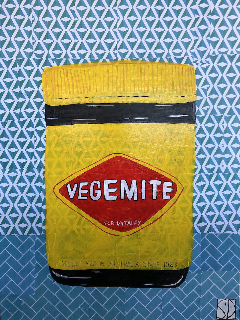 """(CreativeWork) In The Kitchen Series """"Happy Little Vegemite"""" by Sally Dunbar. Mixed Media. Shop online at Bluethumb."""