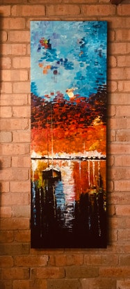 (CreativeWork) Port Phillip bay by Geoff Lugg. Acrylic Paint. Shop online at Bluethumb.