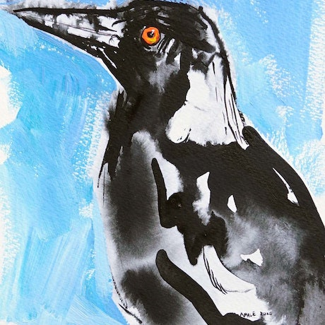 (CreativeWork) Magpie 2 by Katerina Apale. Mixed Media. Shop online at Bluethumb.