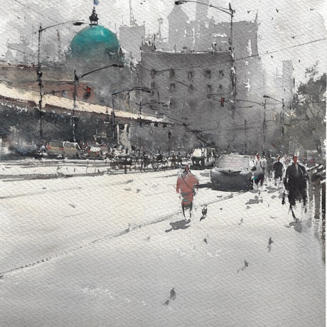 (CreativeWork) Flinders Street Station ,melbourne by jianqiang xu. Watercolour Paint. Shop online at Bluethumb.