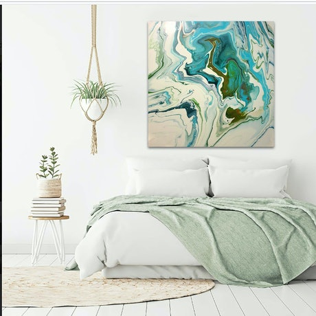 (CreativeWork) Turquoise Expression by Brigitte Ackland. Acrylic Paint. Shop online at Bluethumb.