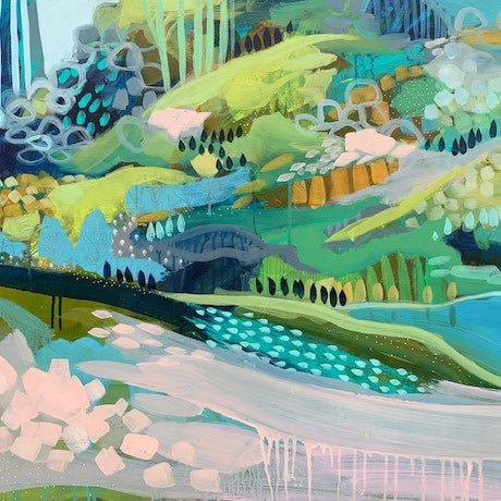(CreativeWork) The Blue Pond by Clair Bremner. Acrylic Paint. Shop online at Bluethumb.