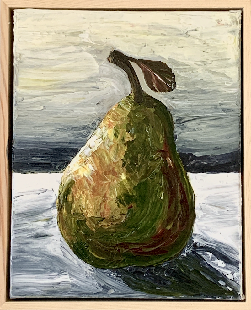 (CreativeWork) Pear Impasto by Hayley Kruger. Acrylic Paint. Shop online at Bluethumb.