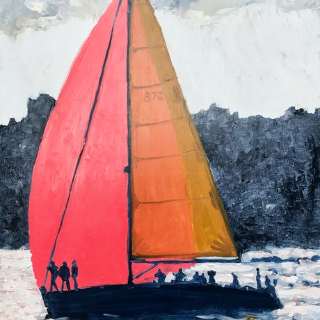 (CreativeWork) Spinnaker Silhouette by Geoff Hargraves. Oil Paint. Shop online at Bluethumb.