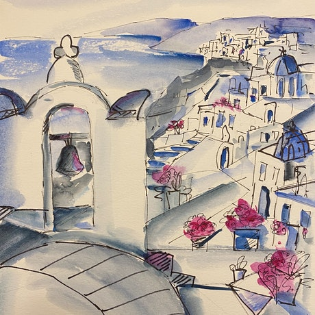 (CreativeWork) Santorini #2 by Ivana Pinaffo. Watercolour Paint. Shop online at Bluethumb.