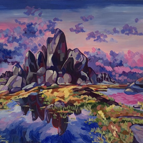 (CreativeWork) The Aries Tor by Maggie Deall. Acrylic Paint. Shop online at Bluethumb.