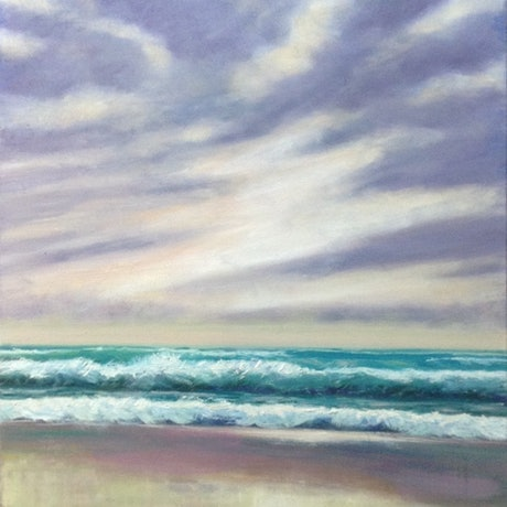(CreativeWork) Beach Sunrise by Anne Strambi. Oil Paint. Shop online at Bluethumb.