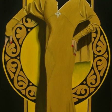 (CreativeWork) Golden gown by Howard Moffatt. Acrylic Paint. Shop online at Bluethumb.