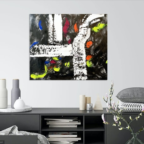 (CreativeWork) Snow in the Black by Alejandra Sieder. Acrylic Paint. Shop online at Bluethumb.