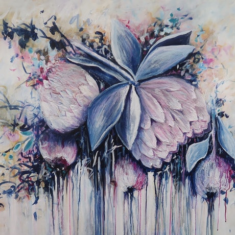 (CreativeWork) Abstract Floating Protea's so Elegant. Commission for Melanie by Maria Cross. Acrylic Paint. Shop online at Bluethumb.