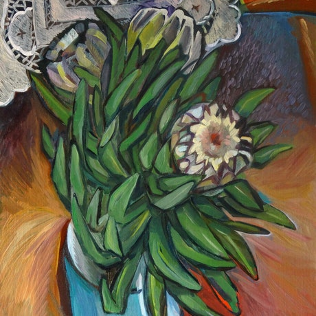 (CreativeWork) Queen Protea by Liza Merkalova. Oil Paint. Shop online at Bluethumb.