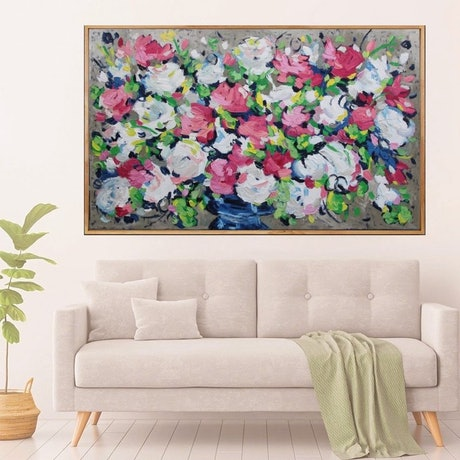 (CreativeWork) Bouquet Two - Framed in Oak by Belinda Nadwie. Oil Paint. Shop online at Bluethumb.