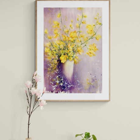 (CreativeWork) Dancing Lady Orchids 2 by Cecilia Xiao. Watercolour Paint. Shop online at Bluethumb.
