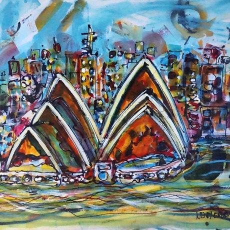 (CreativeWork) Sydney Opera | Acrylic and Collage Seascape by Wendy Eriksson. Mixed Media. Shop online at Bluethumb.