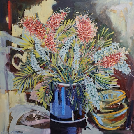(CreativeWork) Still life with Grevilleas by Karen Cipressi. Oil Paint. Shop online at Bluethumb.