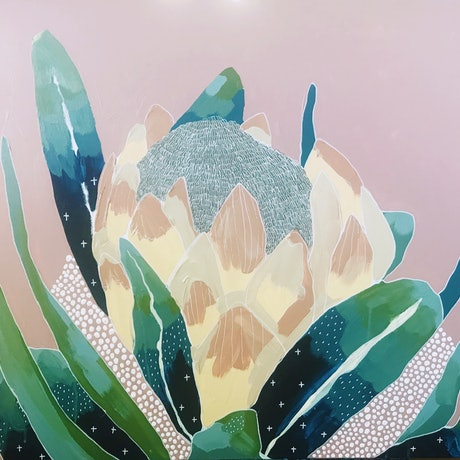 (CreativeWork) Miss Protea by Angelika Pacek. Acrylic Paint. Shop online at Bluethumb.